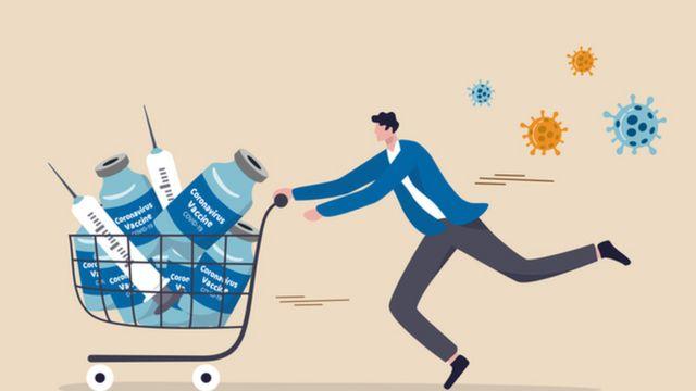 Ilustração de uma pessoa empurrando um carrinho de compras cheio de vacinas, 'fugingo' dos vírus