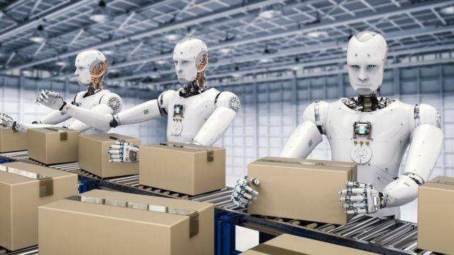 Impression d'artistes sur des robots qui emballent des boîtes