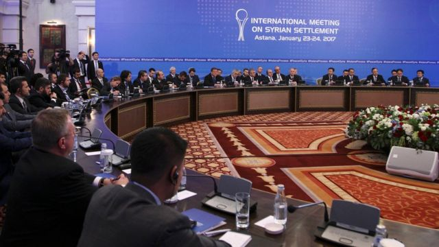 Participants of Syria peace talks in Astana, Kazakhstan (23 January 2017)