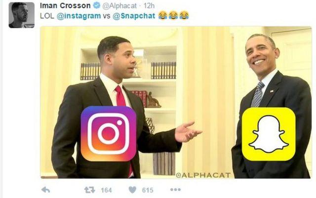Un meme de Snapchat e Instagram