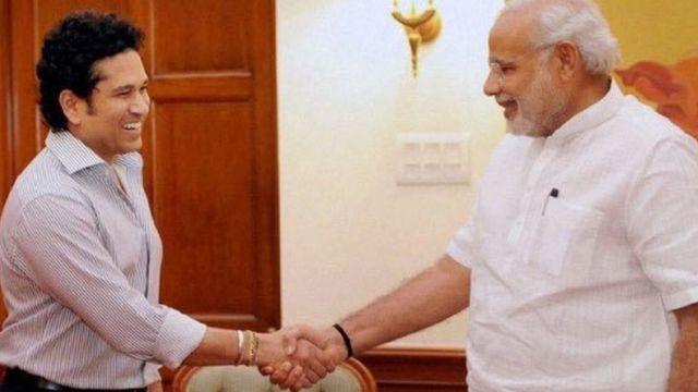 सचिन तेंदुलकर और नरेंद्र मोदी