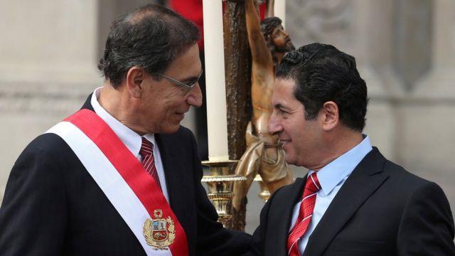 Martín Vizcarra, presidente de Perú, y Salvador Heresi, exministro de Justicia.