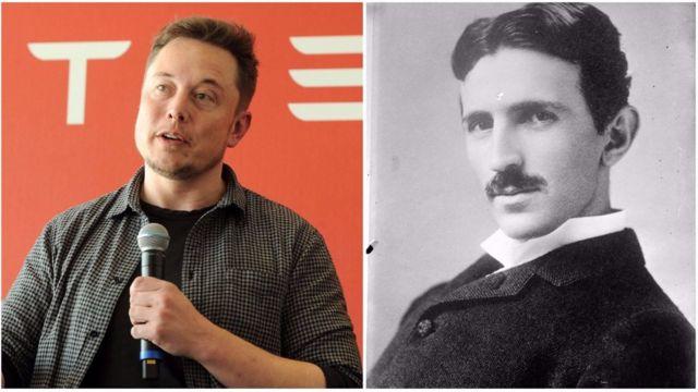 O empresário Elon Musk e o inventor Nikola Tesla