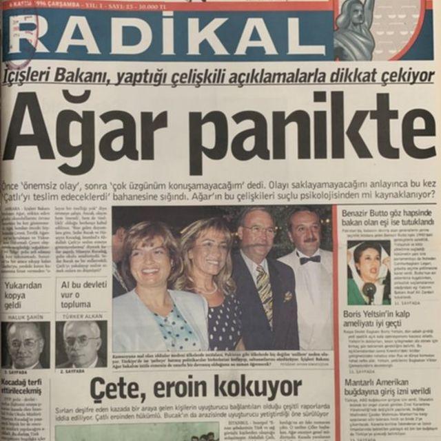 Radikal gazetesinin Susurluk dönemindeki bir haberi
