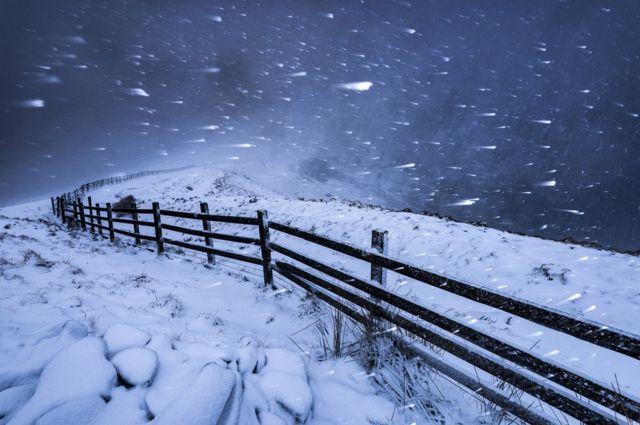 Blizzard in the High Peak, Derbyshire, England