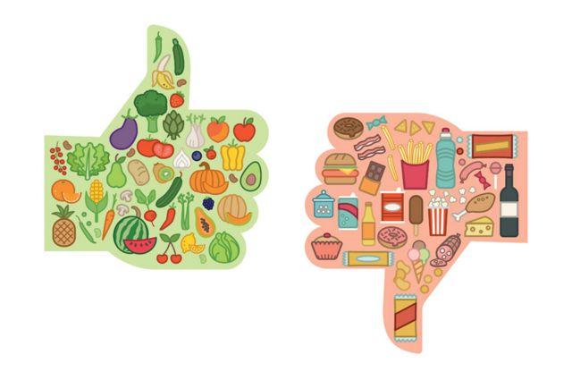 """Imagen de alimentos """"buenos"""" y """"malos"""""""