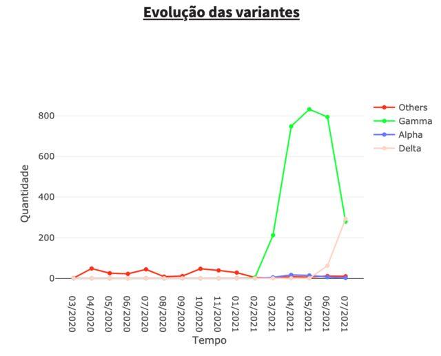 Gráfico da presença das variantes no Rio de Janeiro