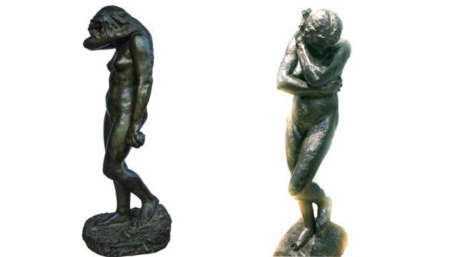 Bức tượng Eve của vua Hàm Nghi (trái) và bức tượng cùng tên của Rodin tại bảo tàng Cardiff (phải).