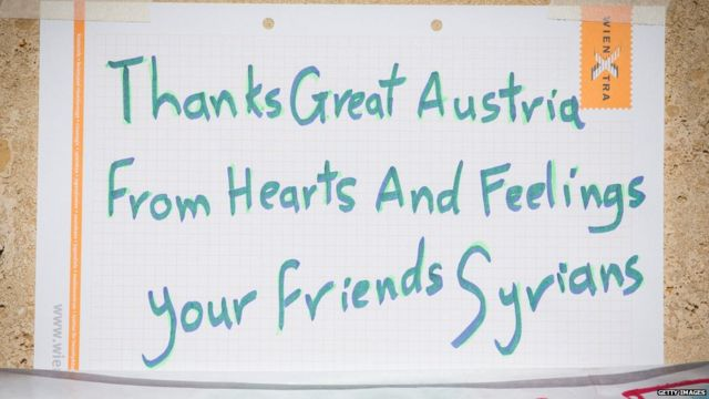 A note thanking Austria from Syrian migrants