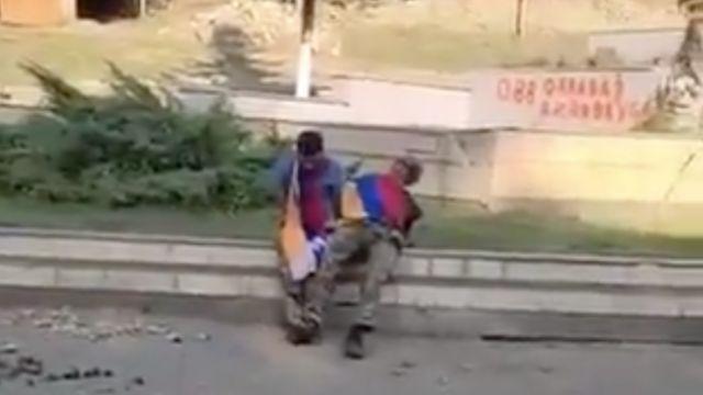 Скришот видео расстрела плененных в Гадруте