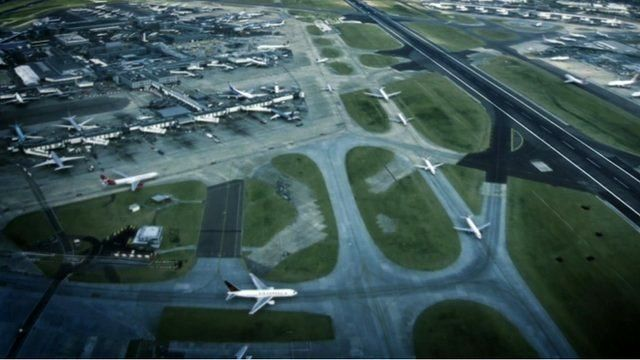Aerial view of Heathrow airport's taxi and runways
