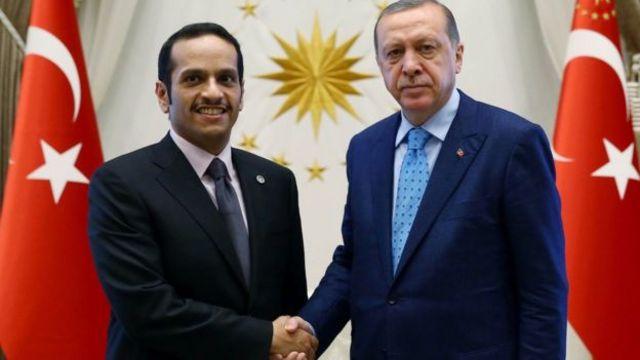 Perezida Erdogan (iburyo) yagiranye ibiganiro na Minisitiri w'ububanyi n'amahanga wa Qatar, Sheikh Mohammed bin Abdul Rahman al-Thani, mu kwezi gushize