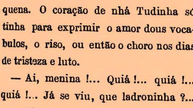 "Trecho de romance ""Til"", de José de Alencar, de 1872"