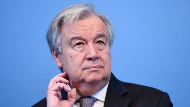 Antonio Guterres at a news conference in Sweden