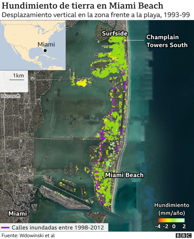 Map with subsidence areas in Miami Beach.