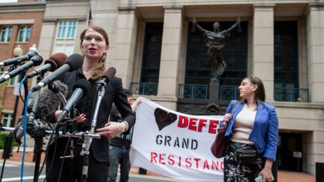 Former military intelligence analyst Chelsea Manning speaks to the press ahead of a Grand Jury appearance about WikiLeaks, in Alexandria, Virginia, on 16 May 2019.