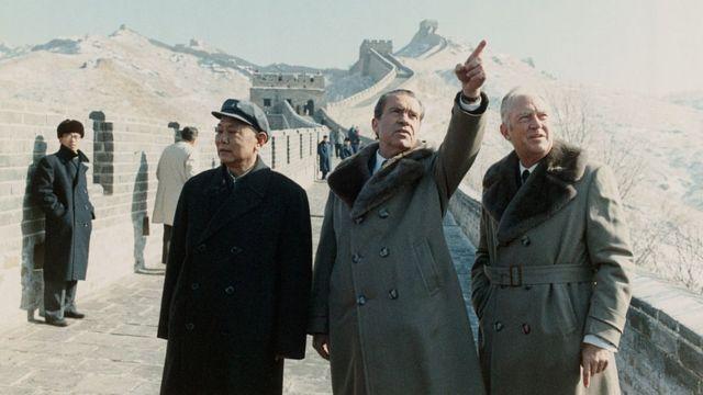 Richard Nixon at the Great Wall of China