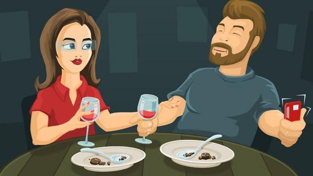 Ilustração de um casal jantando fora e tomando vinho - ele está com o celular na mão, fazendo uma foto do casal