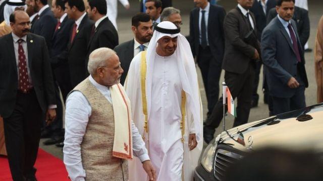 رئيس الوزراء الهندي في استقبال ولي عهد أبو ظبي