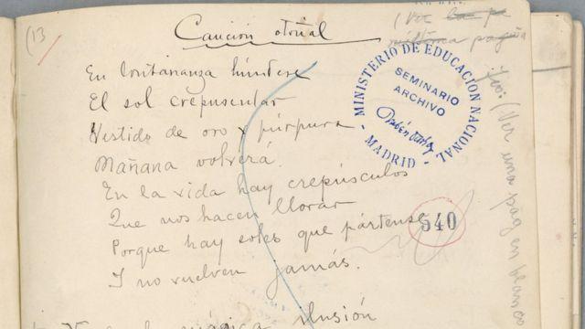 "Un fragmento del manuscrito de ""Canción Otoñal"" de Rubén Darío."