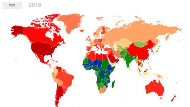 男子の肥満率を国ごとに色分けした。肥満率が最も高い国は赤で表示され、オレンジ色、黄色と続く。緑色と青の国では、肥満の人は未成年人口の5%以下(2016年時点)