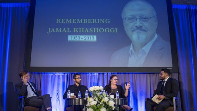 People attend a memorial for Jamal Khashoggi in Washington, 2 November