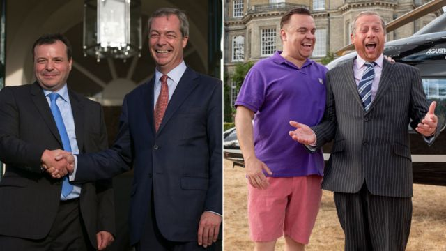 Arron Banks and Nigel Farage in real life and as they are portrayed in Brexit: The Uncivil War
