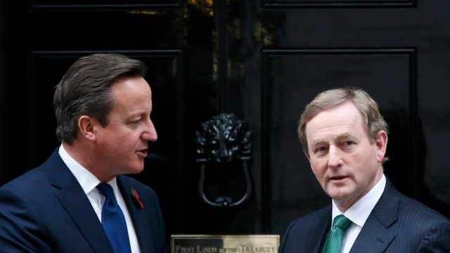 Britains Prime Minister David Cameron meets his Irish counterpart Enda Kenny outside of 10 Downing Street in London, Britain November 9, 2015.