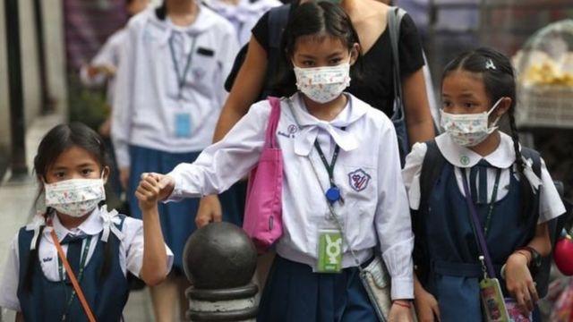 เด็กนักเรียนใส่หน้ากาก