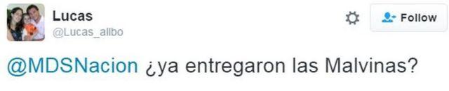 Tuit de usuarios criticando el mensaje del gobierno argentino.