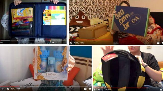 Cenas dos vídeos em que alguns youtubers mirins abrem presentes enviados por empresas que figuram na denúncia