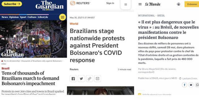 Imagens de reportagens no The Guardian, na Reuters e no Le Monde