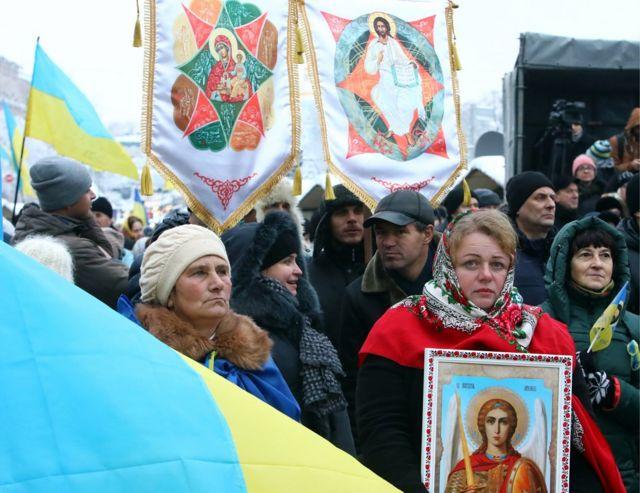 Молебен на Софийской площади в Киеве