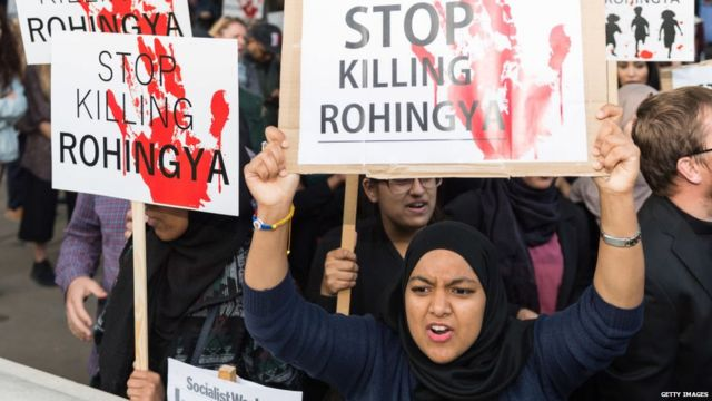 group of protestors staged an emergency demo on Whitehall near Downing Street to protest against ethnic cleansing of the Rohingya people in Myanmar on September 6, 2017 in London, England.