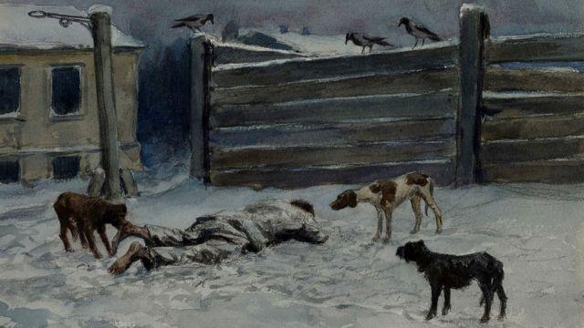 Hombre muerto en la nieve