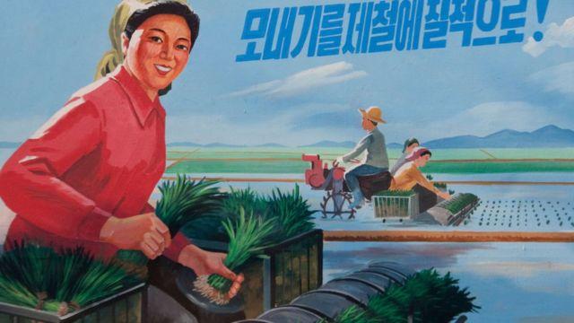 Пропагандистский плакат в Северной Корее