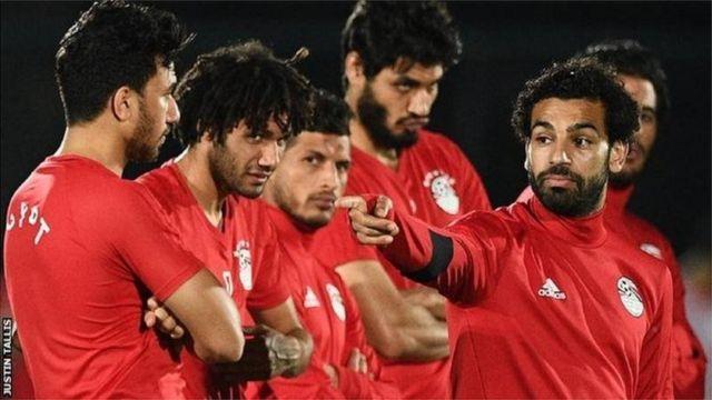 Des joueurs de la sélection égyptienne lors d'un entraînement en préparation du match contre l'Ouganda.