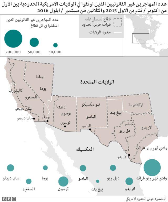 خريطة الولايات الأمريكية المستقبلة للمهاجرين غير الشرعيين