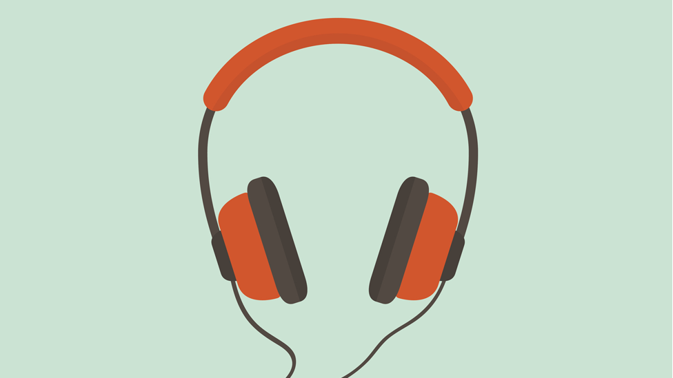 Ilustração colorida de fones de ouvido laranja com fundo verde