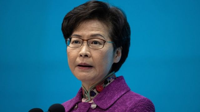 Hong Kong President Carrie Lam speaking at a press conference in Hong Kong, China on November 25, 2020.
