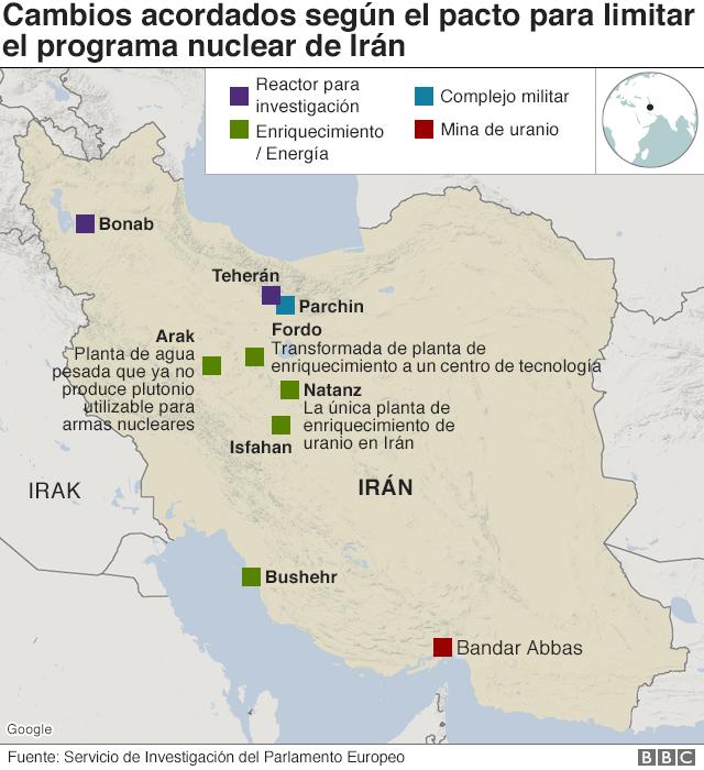 Mapa de instalaciones nucleares de Irán