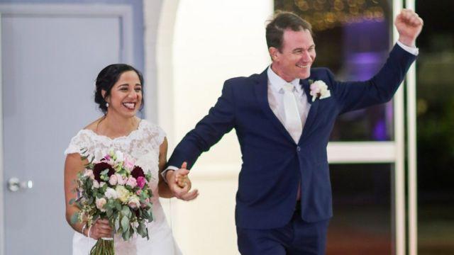 Melissa e Mez no dia do casamento