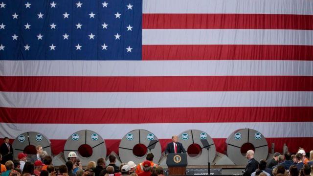 Трамп на заводе U.S. Steel в штате Иллинойс