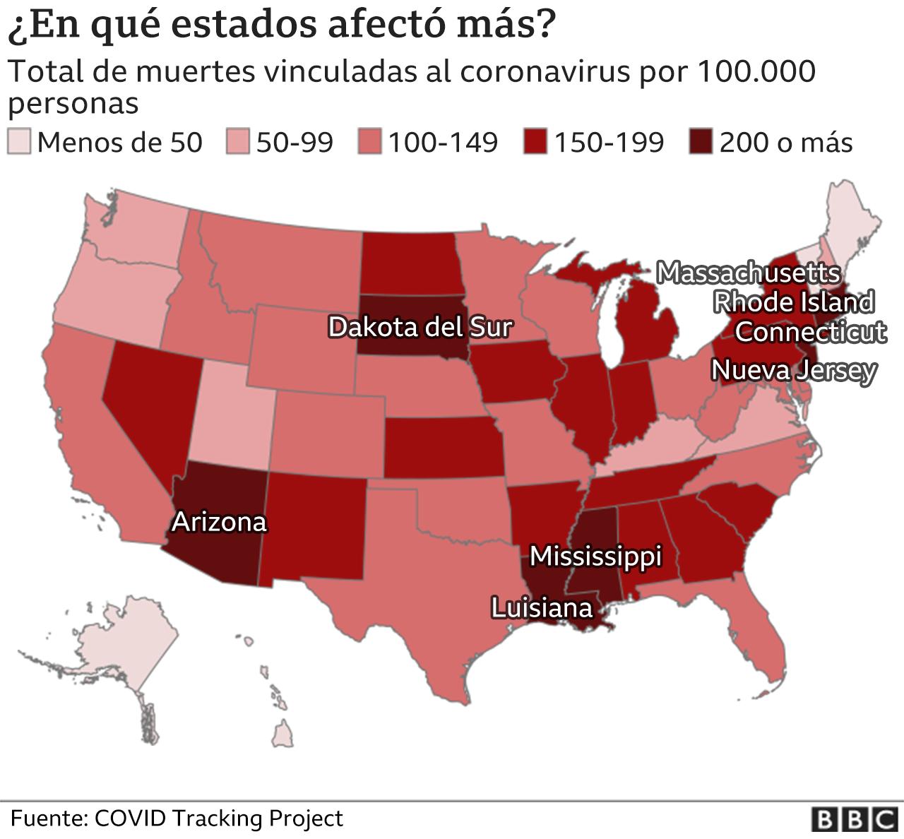 Coronavirus en EE.UU. por estados