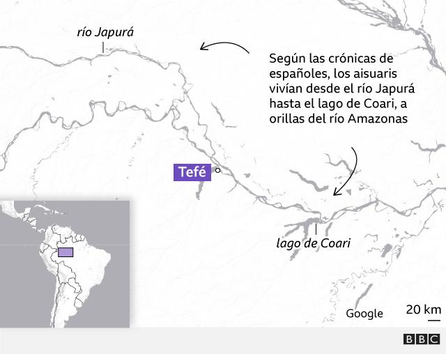 Mapa situando a los aisuaris sobre el actual mapa de Brasil
