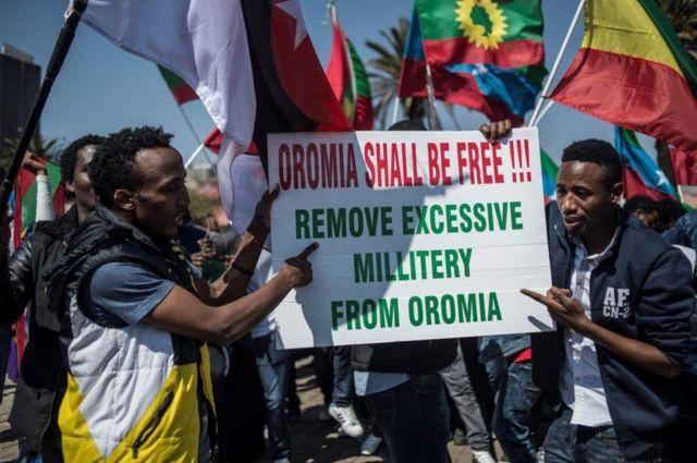 محتجون من الأورومو يطالبون بمغادرة الجيش للمنطقة