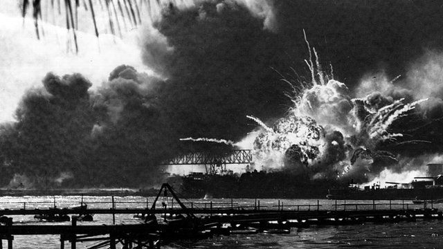 Pearl Harbour under attack by Japanese forces