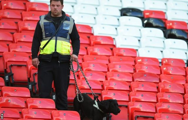 Old Trafford after it was evacuated
