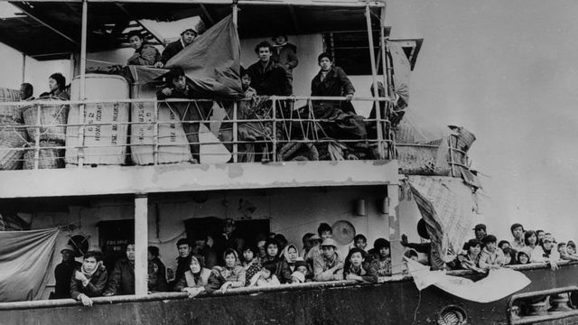 2nd January 1979: Vietnamese refugees on board a freighter in Hong Kong waters after the Hong Kong government refused them permission to land