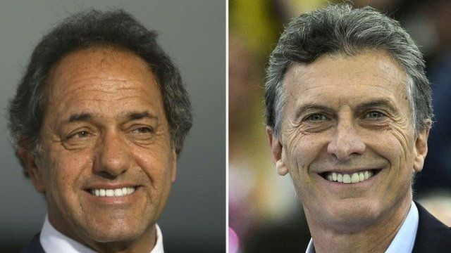 Pictures of the two leading Argentine presidential candidates: Daniel Scioli (left) and Mauricio Macri